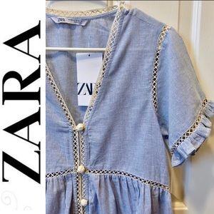 🎉HP🎉ZARA blue striped tunic dress crochet button